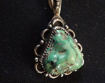 1 Turquoise nugget on sterling silver Pendant