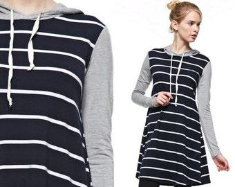 Striped Tunic Dress Tunic Dress Hoodie Tunic