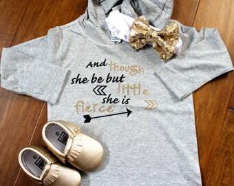 And though she be but little she is fierce shirt girls long sleeve hoodie fierce shirt she be but little shirt, hipster girls shirt