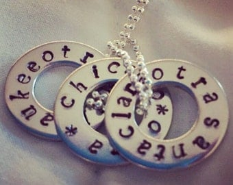 OTRA Tour Necklace Custom Hand Stamped Jewelry, One Direction, Customized With Your City, Tour Washer, Fandom Necklace