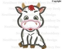 Cow embroidery applique design, farm machine embroidery,  cow-001