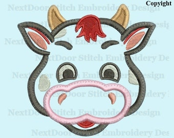 Cow face embroidery applique design, sit cow machine embroidery download,  cow-002