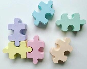 Concrete Decor, pastel decor, pastel colours, puzzle pieces, concrete puzzle, pastels decor, pastel kitchen, Scandinavian, scandi, nursery