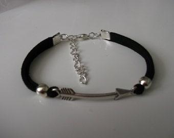 silver arrow and black flat cord bracelet