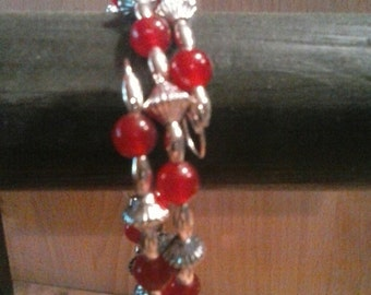 Beautiful Red Jade Memory Wire Bracelet