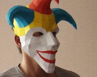 Joker mask, paper mask, Papercraft Halloween mask, jester printable DIY PDF template
