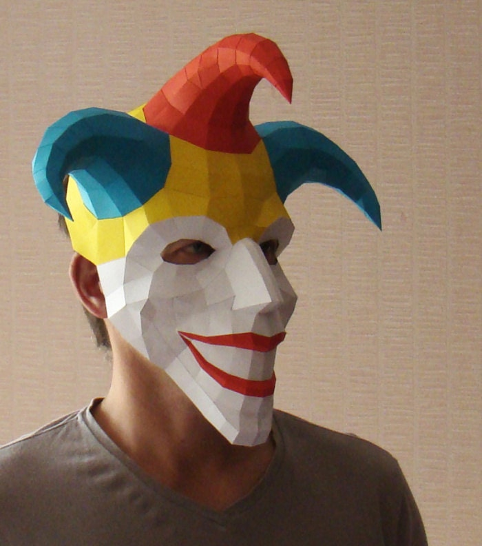 Joker mask paper mask papercraft halloween mask jester for Joker mask template