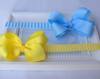 Chevron Print Headband, Baby Headband, with Blue or Yellow bow, Girls hair accessories, CHELSEA