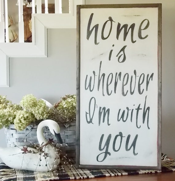 Home Is Wherever I M With You Wood Sign Home Decor: Home Is Wherever I'm With You Wood Framed SIgn By