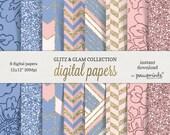 Rose Quartz Serenity Digital Paper Pack//Pantone 2016 Digital Papers//Pantone Patterns// 12x12 Scrapbook Paper