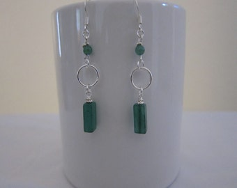 Bright Green Jade Dangles from Sterling Silver Ring