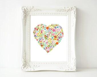 8x10 Printable Wall Art Floral Heart, Nursery decor Art Baby Girl Nursery Print, Heart Wedding printable