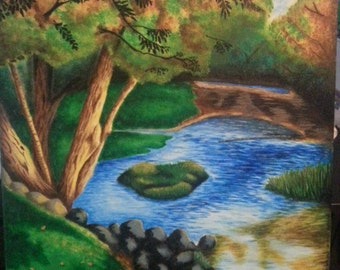 River acrylic  painted on canvas handmade, not a print
