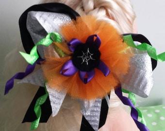 Spider web design halloween girls alligator hair clip with ribbon