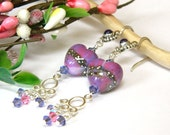 Pink and Purple Lampwork Heart Earrings Handcrafted Long Silver Dangle