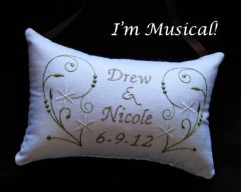 Simple Swirls & Starflowers Wedding Music Box -- Personalized Embroidered MUSICAL Keepsake