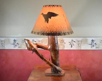 Rustic Table Lamp,  Pine Lamp, Log Desk Lamp, Reclaimed Wood ,  #216