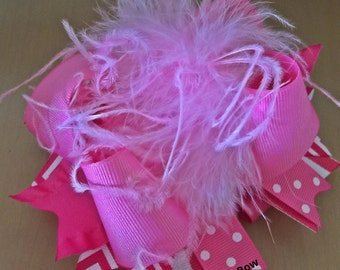 Pink Over the Top Hair Bow , Large Over The Top Hair  Bow , Over The Top Hair Bow with curly Ostrich , OTT Hair Bow