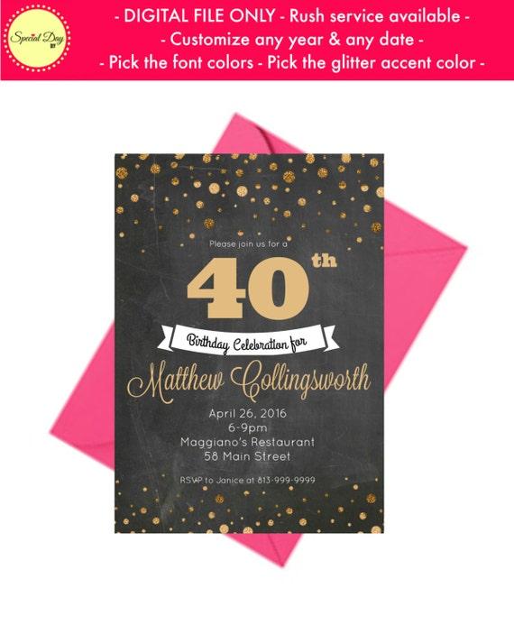 40th Birthday Invitation for men Personalized 40th Birthday – Personalized 40th Birthday Invitations