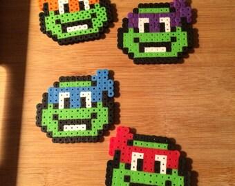 Set of 4 Ninja Turtles Perler Bead Art