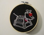 Embroidery hoop art. Doctor Who embroidery. Fathers day gift for him. K-9 embroidery. K9 Dr Who character. Hand stitched embroidery wall art