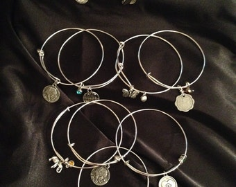 Assorted Silver Plated Adjustable & Stackable Bangles with charms