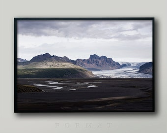 ICELAND GLACIER, Icelandic Landscape, Iceland Photo, Iceland Print, Icelandic Glacier, Iceland Terrain, Rugged Countryside, Brown and White