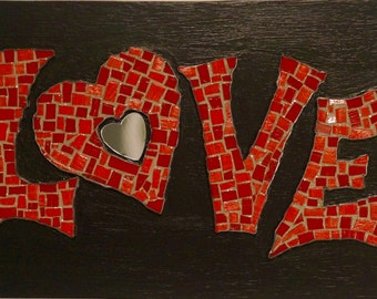 Red Love Heart Mosaic - Reds/Silver/Mirror