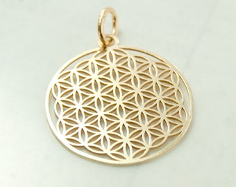Flower of life, pendant with loop, 925 silver, gold pl art.3275