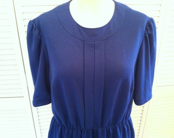 Vintage Mod Blue Cotton Mini Dress