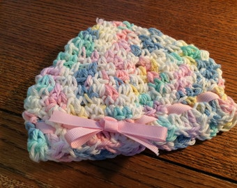 Baby pink crocheted hat