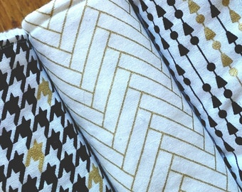 Modern Gender Neutral Geometric Print Burp Cloth set of 3