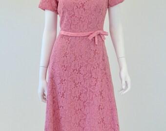 70's Vintage Women's M Amy Adams Mauve Pink Lace A Line Dress Casual 8 10