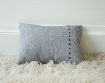12x16 Grey Linen nail head lumbar throw pillow cover