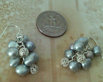 Pearl and Silver Cluster Earrings