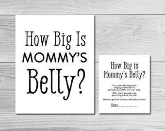 Plain Black and White Baby Shower Game - How Big is Mommy's Belly? - Instant Download Printable - Gender Neutral