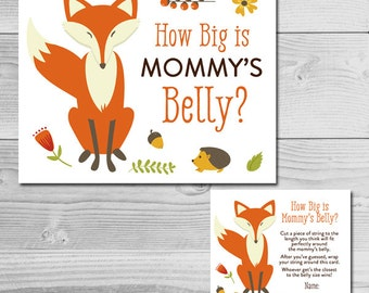 Woodland Fox Baby Shower Game - How Big is Mommy's Belly? - Instant Download Printable - Gender Neutral