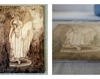 Angel - Handmade wood engraved picture