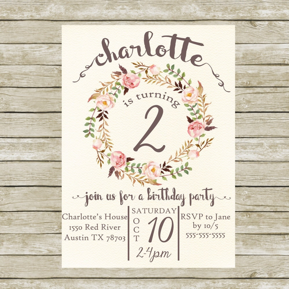 Birthday Party Invitation For Girls Printable Birthday Party - Birthday invitation cards tumblr