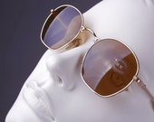 LUXOTTICA 1177 GEP 18K / Vintage 80's 18k Gold Plated Sunglasses / NOS / Made in Italy || art. 56