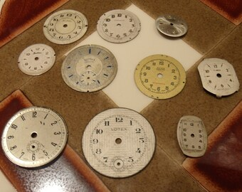 SALE!! Set of 10 vintage watch dials- Steampunk supplies Altered art