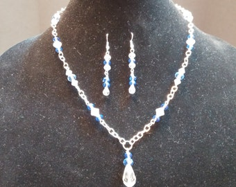 Blue, clear, crystal, elegant necklace