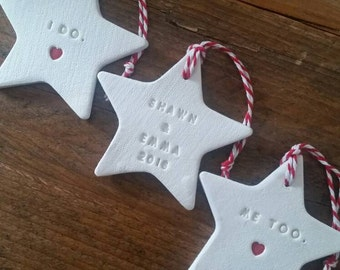 Set of 3 Clay Ornaments ~ Christmas Ornaments ~ Wedding Gift ~ Clay Engaged Ornaments ~ Wedding Ornaments ~ Personalized Wedding Gift ~