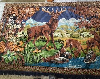 Vintage Deer Rug - 1970's