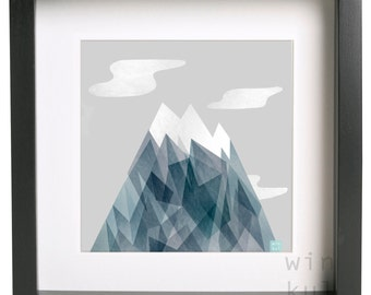 Mountain Printable Artwork illustration, Digital Print, the andes. Mountain in winter Download Illustrationilustracion to download,