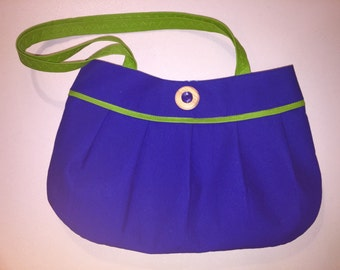 Blue and green pleated purse