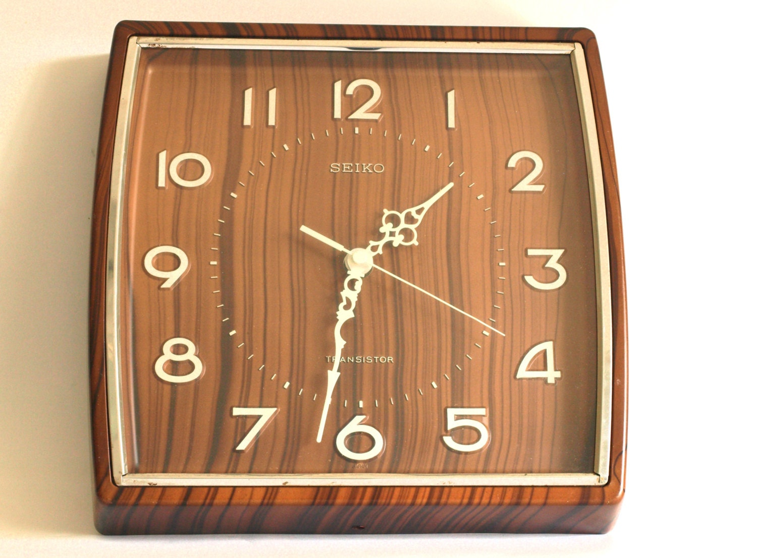 Vintage Seiko Transistor Wall Clock Funky 70s Faux Wood
