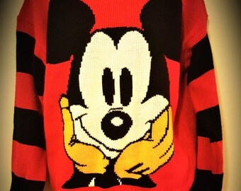 Vintage Mickey Mouse Women's Sweater Size Small