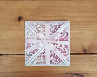 x25 Lasercut Wedding Invitation Pink Florals With Vellum Overlay