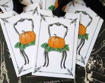 Autumn Tags-Pumpkin in Chair-Set of 6